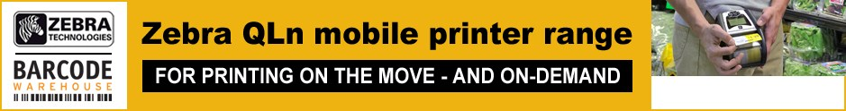 Zebra QLn Mobile printers available from The Barcode Warehouse