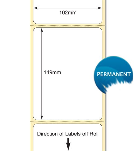 TB00621320 - 102 x 149mm DT Permanent Perfed Desktop Websales Blank Label for Zebra GK Printers