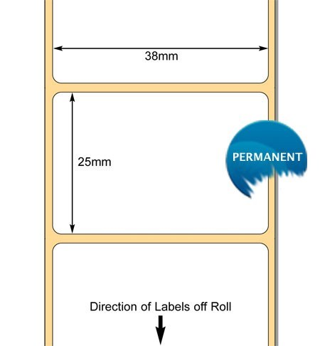 TB00606823 - 38 x 25mm Direct Thermal Paper Label with Permanent Adhesive (38mm Core / 127mm OD)