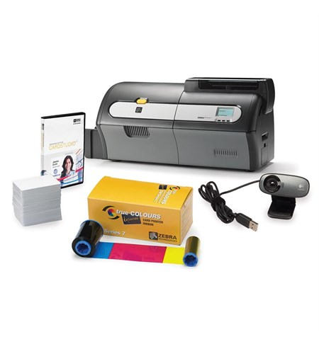 ZXP Series 7 Printer - Dual-sided, Card Studio Software, Web Camera, 1 x YMCKOK ribbon, 200 x PVC cards with Mag Stripes, UK/EU power Cords