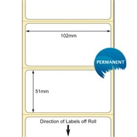 TB00606332 - White 102 x 51mm DT Paper Label, Permanent Adhesive (38mm Core / 127mm OD)