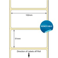 TB00609119 - White 102 x 51mm DT Paper Labels, Removable Adhesive (38mm Core / 127mm OD)