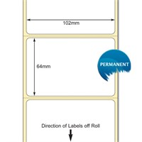 TB00606779 - White 102 x 64mm DT Paper Labels, Permanent Adhesive (38mm Core / 127mm OD)