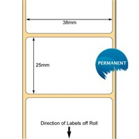 TB00606823 - White 38 x 25mm DT Paper Label, Permanent Adhesive (38mm Core / 127mm OD)