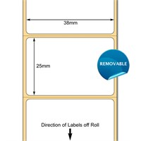 TB00608905 - White 38 x 25mm DT Paper Labels, perforated, Removable Adhesive (38mm Core/127mm OD)