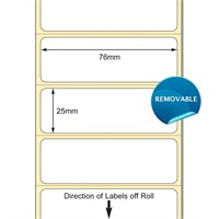 TB00616066 - 76 x 25mm TT Polypropylene Label with permanent adhesive